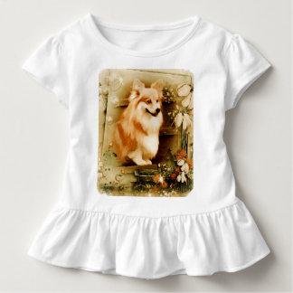 Welsh Corgi in Floral Frame Toddler T-shirt