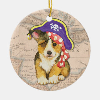 Welsh Corgi Pirate Ceramic Ornament