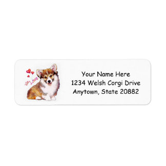 Welsh Corgi Puppy with Hearts Label