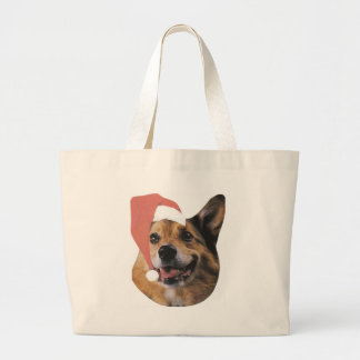 Welsh Corgi Santa Hat Large Tote Bag