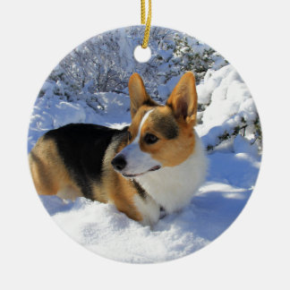 Welsh Corgi Snow Day Ceramic Ornament