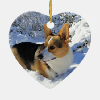 Welsh Corgi Snow Day Double-Sided Heart Ceramic Christmas Ornament