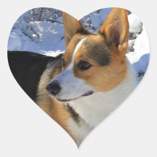 Welsh Corgi Snow Day Heart Sticker