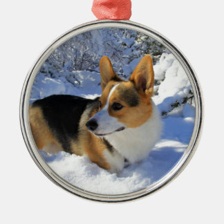 Welsh Corgi Snow Day Metal Ornament