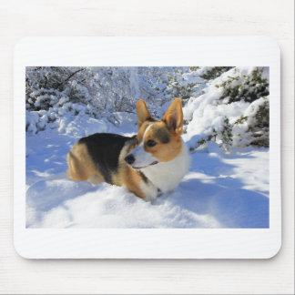 Welsh Corgi Snow Day Mouse Pad