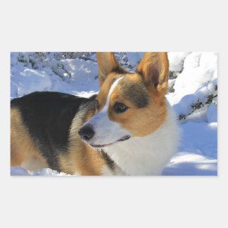 Welsh Corgi Snow Day Rectangular Sticker