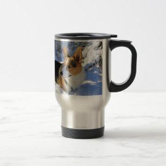 Welsh Corgi Snow Day Travel Mug