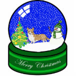 "welsh corgi snow globe statuette<br><div class=""desc"">cute holiday ornament</div>"