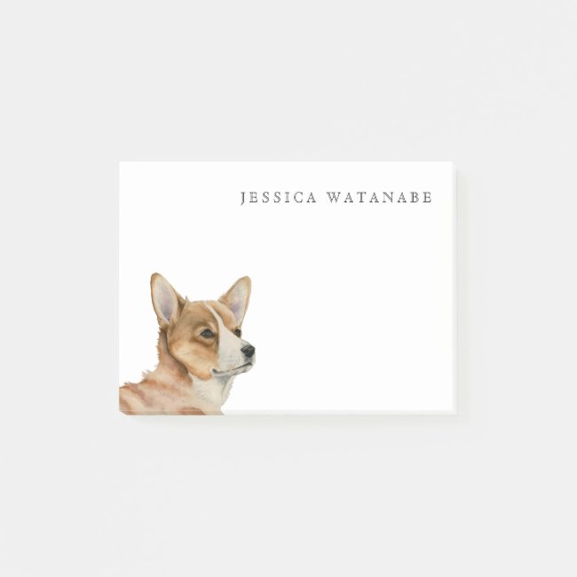 Welsh Corgi Watercolor Painting with Name