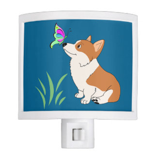 Welsh Corgi with Butterfly Night Light