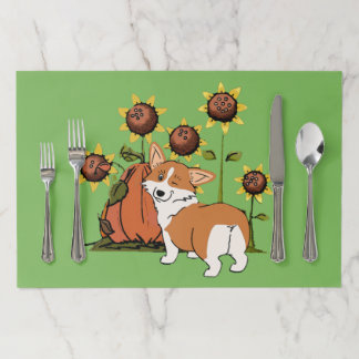 Welsh Corgi with Sunflowers Paper Placemat