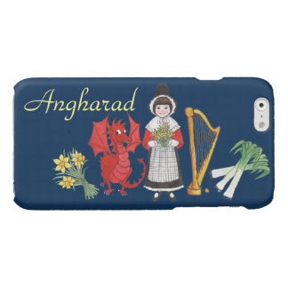 Welsh Costume and Emblems on Blue iPhone 6 Case Glossy iPhone 6 Case