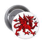Welsh dragon 2 inch round button