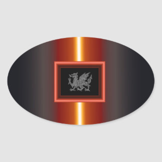 WELSH DRAGON 2 OVAL STICKER