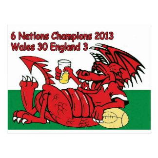 Welsh Dragon, 6 Nations Champions, Wales v England Postcard