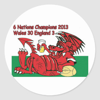 Welsh Dragon, 6 Nations Champions, Wales v England Stickers