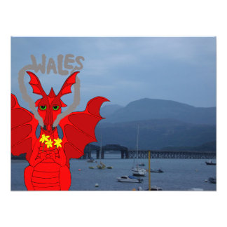 Welsh dragon and Barmouth, Wales Photo Print
