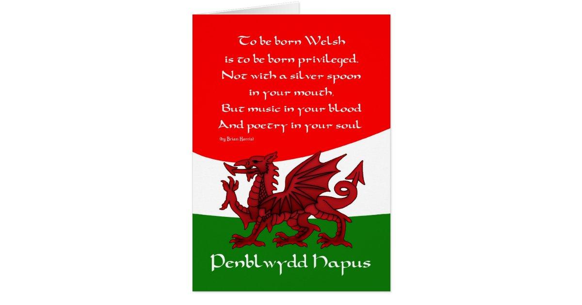 Welsh Dragon Birthday Card Poem By Brian Harris Zazzle Com