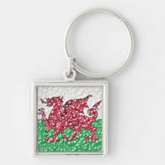 Welsh Dragon Bubble Texture Flag Keychain