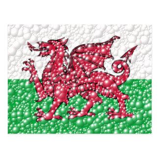 Welsh Dragon Bubble Texture Flag Postcard