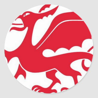 Welsh dragon design round sticker