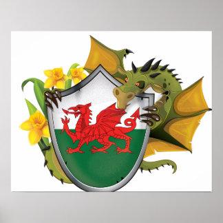 Welsh Dragon Flag Poster