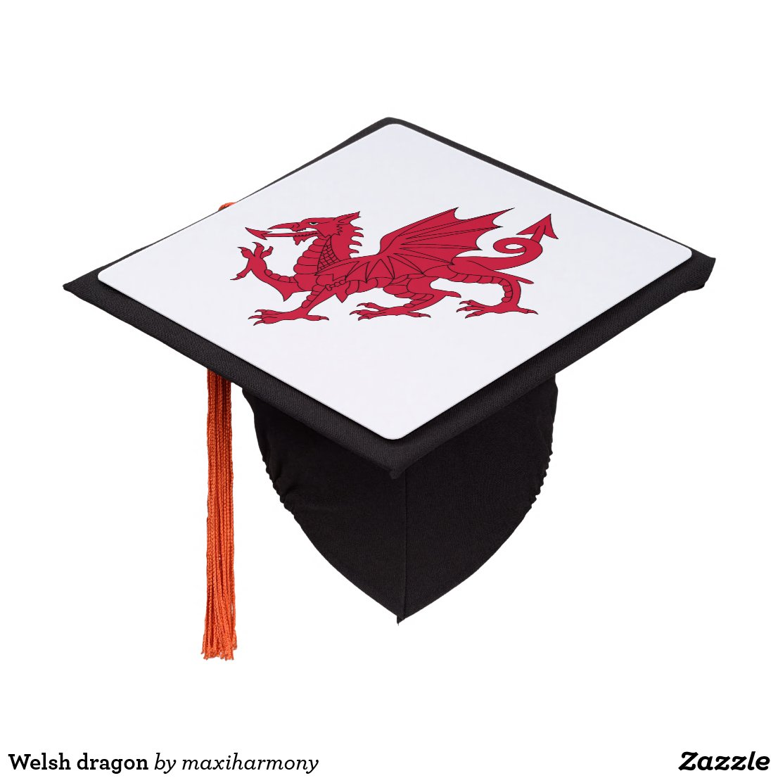 Welsh dragon graduation cap topper