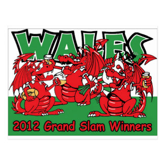 Welsh Dragon, Grand Slam Winners 2012 Postcard