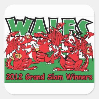 Welsh Dragon, Grand Slam Winners 2012 Square Stickers
