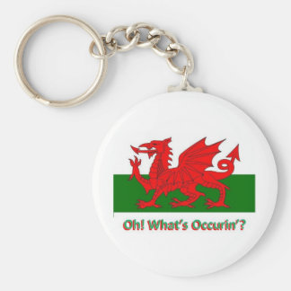 welsh dragon basic round button keychain