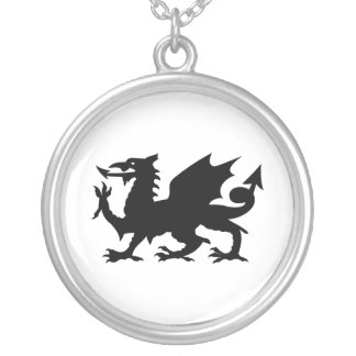 Welsh Dragon Round Pendant Necklace