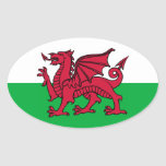 Welsh Dragon Oval Stickers