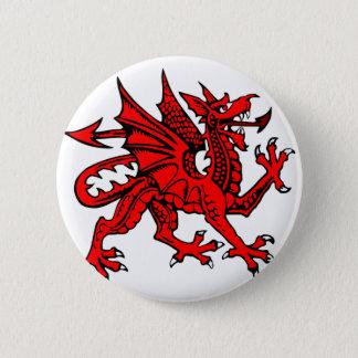 Welsh dragon pinback button