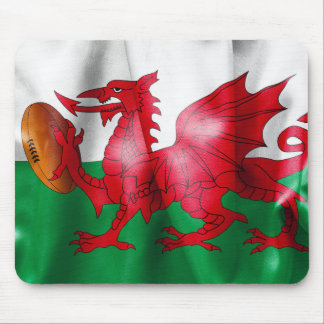 Welsh Dragon Rugby Ball Flag Mouse Pad