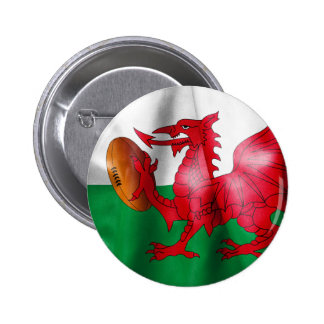 Welsh Dragon Rugby Ball Flag Pinback Button