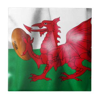 Welsh Dragon Rugby Ball Flag Tile