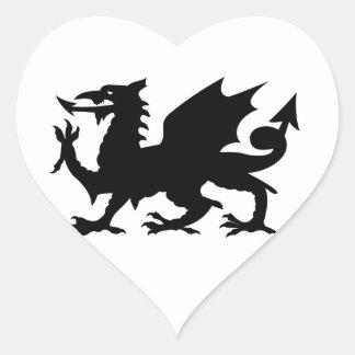Welsh Dragon Silhouette Heart Sticker