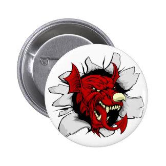 Welsh Dragon Smashing Out Pinback Button