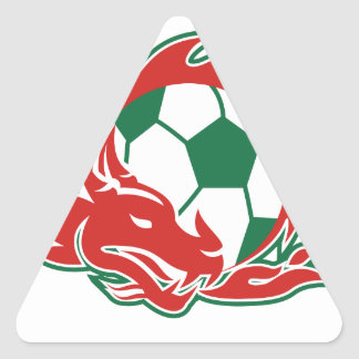 Welsh Dragon Soccer Ball Triangle Sticker