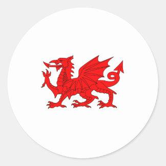 Welsh Dragon Round Stickers