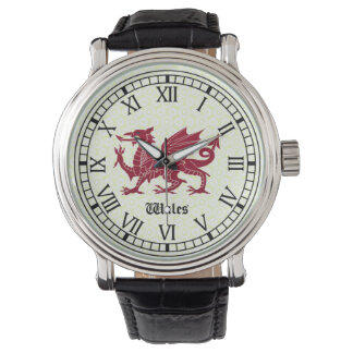 Welsh Dragon Watch - Roman Numerals