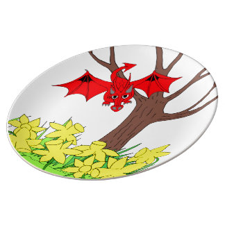 Welsh dragon with daffodils porcelain plate