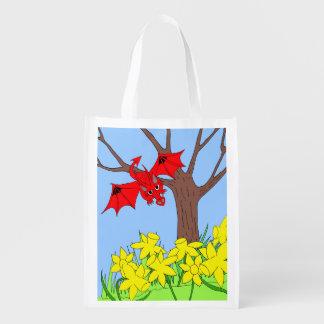 Welsh dragon with daffodils reusable grocery bag