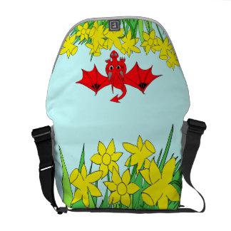 Welsh dragon with daffodils Rickshaw messenger bag