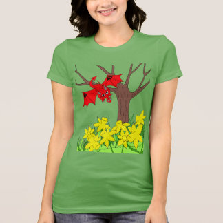 Welsh dragon with daffodils T shirt
