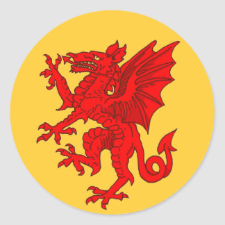 Welsh dragon yellow - Customized Classic Round Sticker