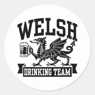 Welsh Drinking Team Round Stickers