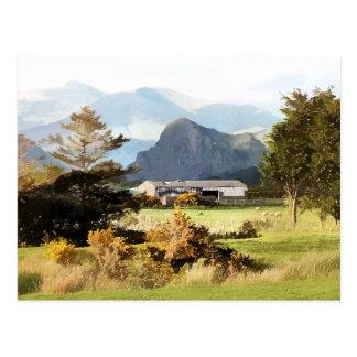 WELSH FARM AND MOUNTAIN LANDSCAPE POSTCARD