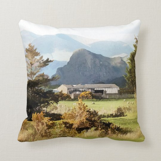 WELSH FARM AND MOUNTAIN LANDSCAPE THROW PILLOW
