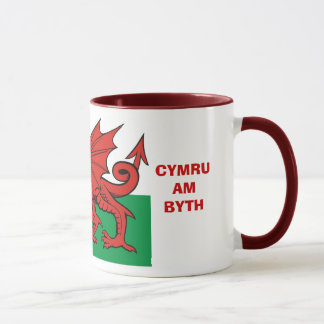 "Welsh flag, ""Cymru am byth"",   The red dragon Mug"